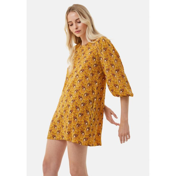 Image for Please Me Paisley Mini Dress in Mustard Yellow