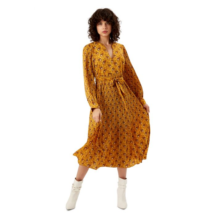 Image for Fallen yellow paisley print maxi dress