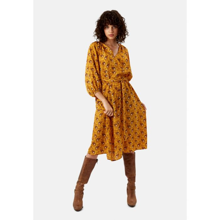 Image for Paisley Belt Up Midi Dress in Mustard Yellow