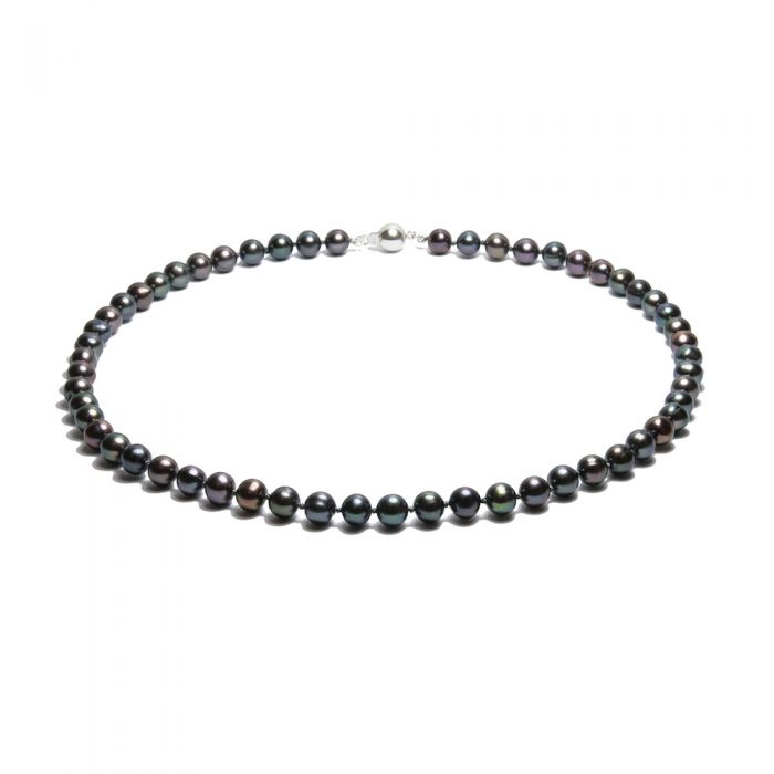 Image for Black Freshwater Pearl Necklace and 925 Silver
