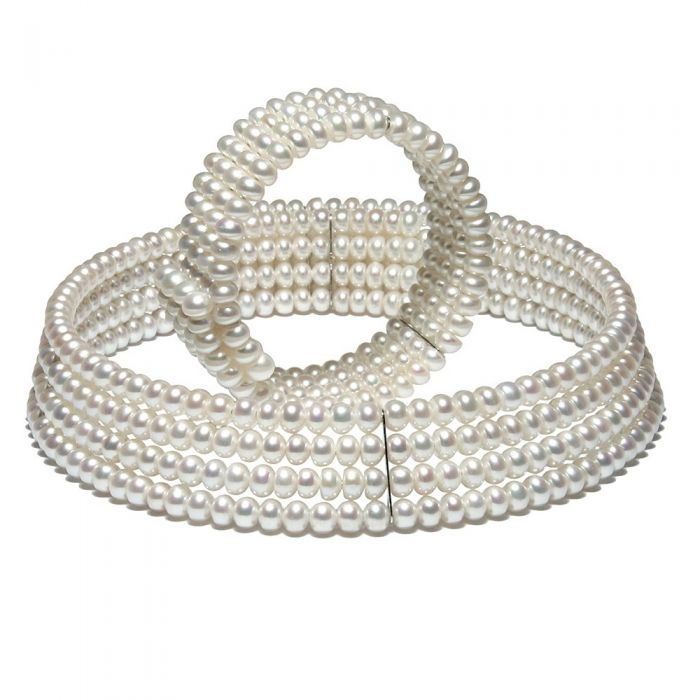 Image for White Freshwater Pearls 4 rows Necklace and Bracelet Set