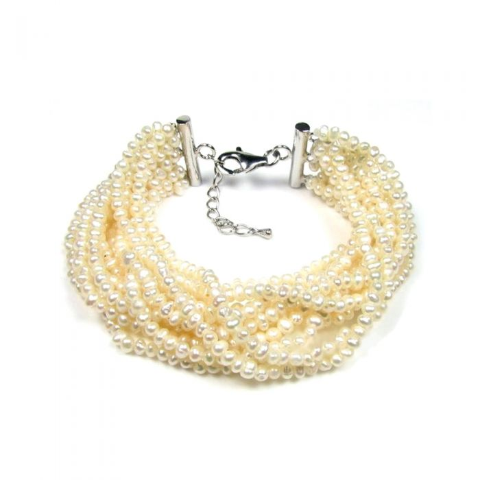 Image for White multi rows Freshwater Pearls Bracelet and Silver Clasp