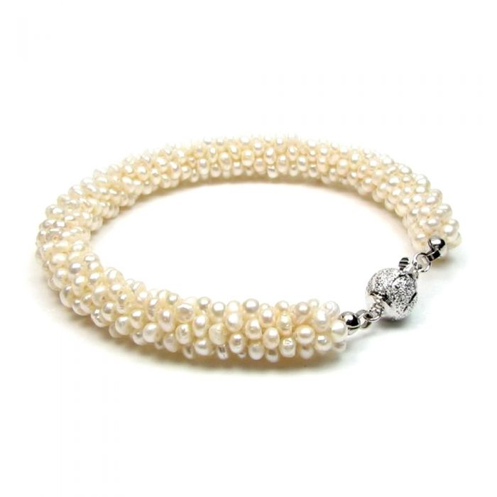 Image for White Freshwater Pearls Twisted 6 rows Bracelet and Silver Clasp