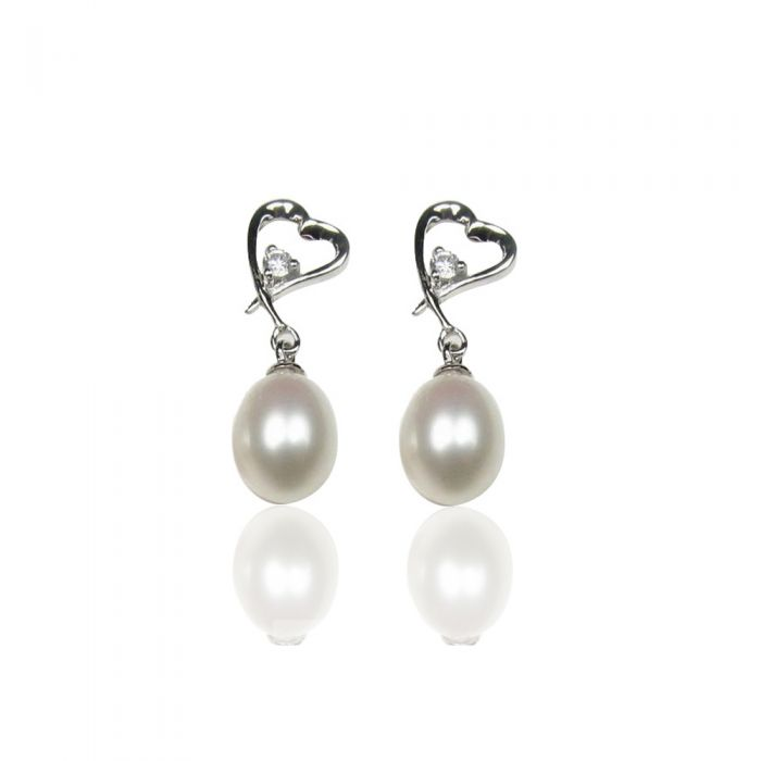 Image for White Freshwater Pearl Heart Earrings and Silver Mounting