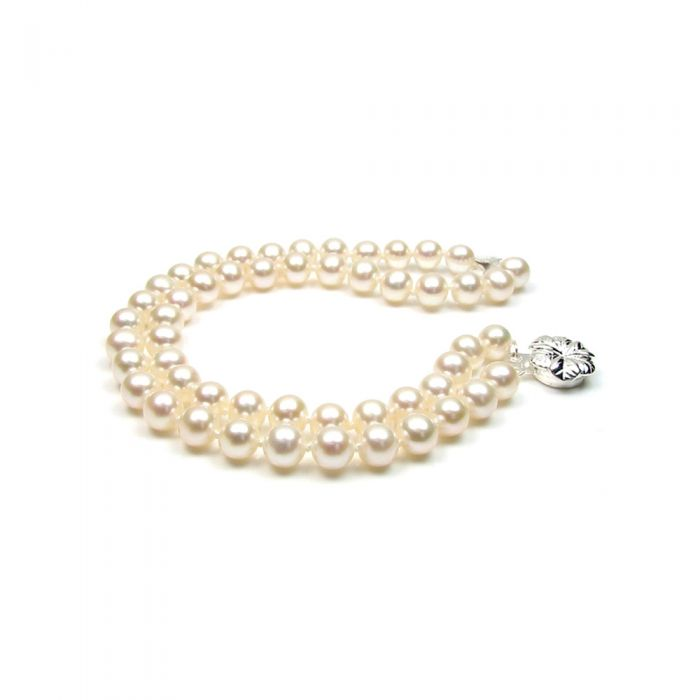 Image for White Freshwater Pearl 2 Strands Bracelet and Silver Flower Clasp