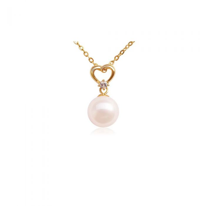 Image for 14k yellow gold plated freshwater pearl and diamond heart pendant