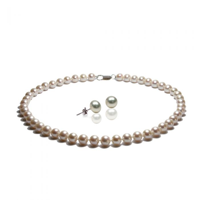 Image for Black or White Freshwater Pearl Necklace and Earrings Set and Silver
