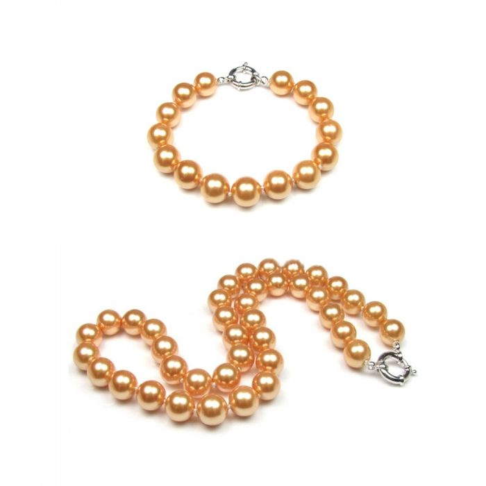 Image for Golden Pearl Necklace and Bracelet Set and 925 Silver