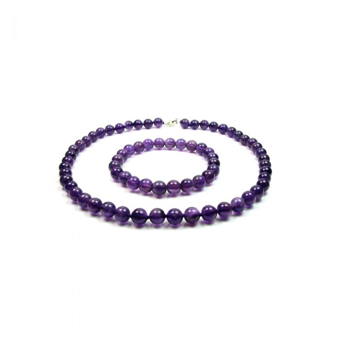 Image for Purple Amethyst Gemstones Necklace and Bracelet Women Set and Silver Clasp