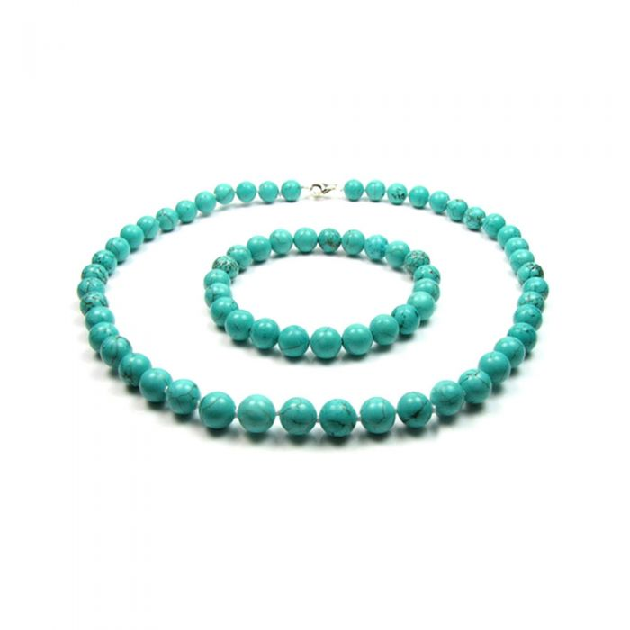 Image for Turquoise Gemstones Necklace and Bracelet Women Set and Silver Clasp