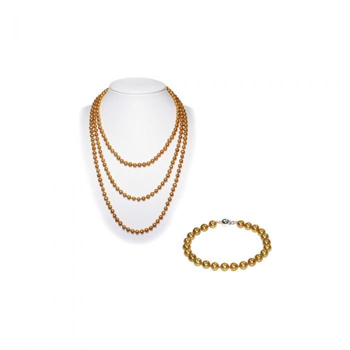 Image for Golden Freswater Pearl Necklace and Bracelet Set