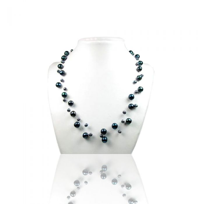 Image for White or Black Freshwater Pearl 3 Rows Necklace and Silver Clasp