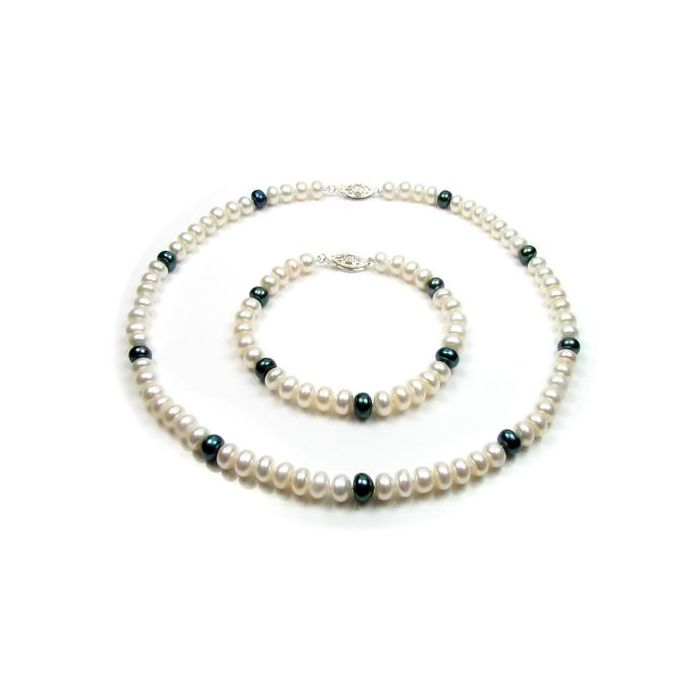 Image for White and Black Freshwater Pearl Necklace and Bracelet Set and Silver Clasp