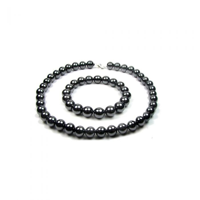 Image for Black Hematite Gemstone Necklace and Bracelet Set and 925 Silver