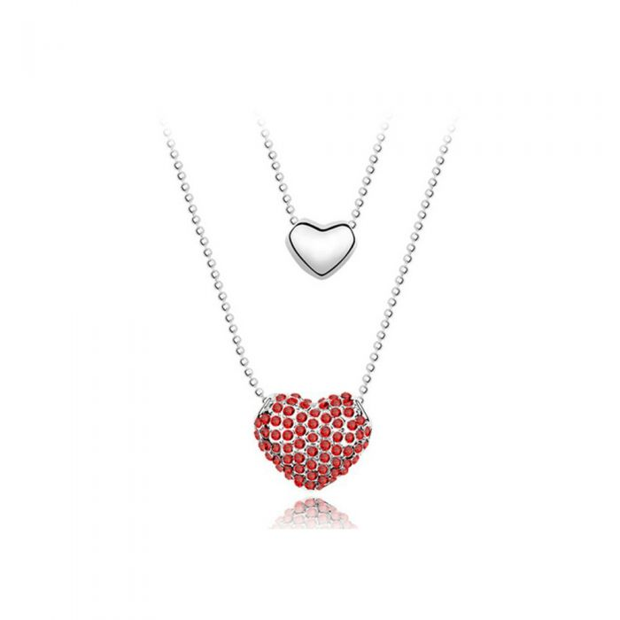 Image for Red Swarovski crystals double heart pendant