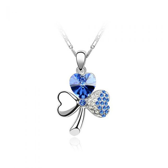 Image for Swarovski - Clover Pendant made with a Blue Crystal from Swarovski