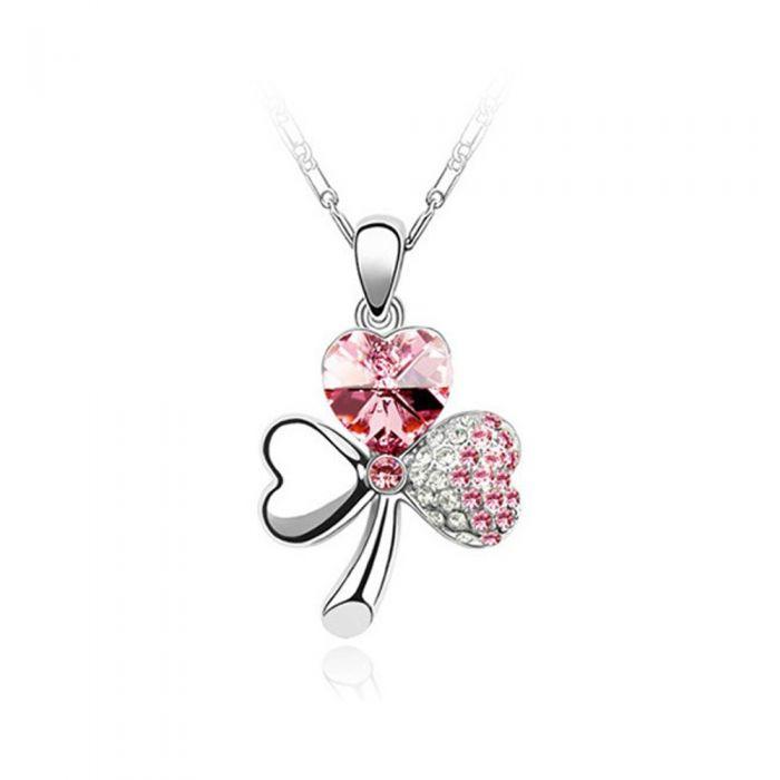 Image for Swarovski - Clover Pendant made with Pink Crystal from Swarovski