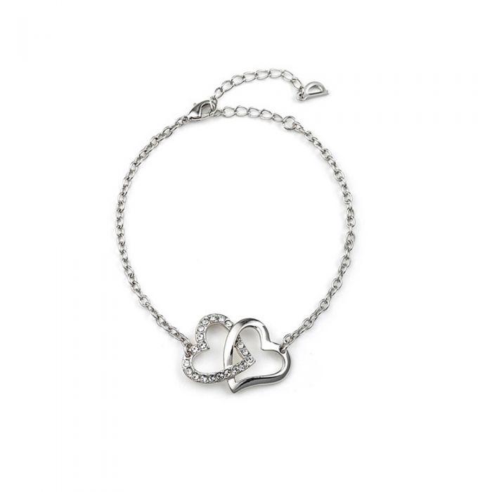 Image for White Swarovski crystals double heart bracelet