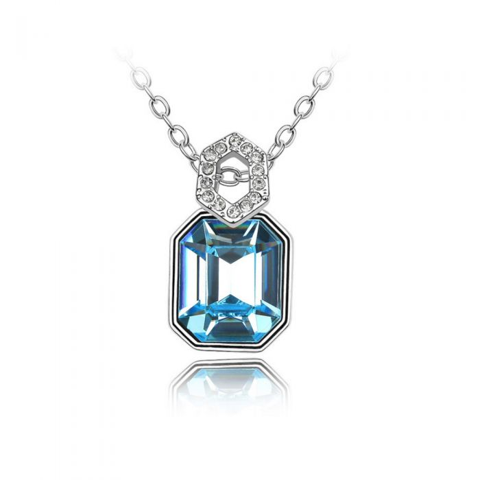 Image for Swarovski - Mirror Pendant made with a Blue Crystal from Swarovski