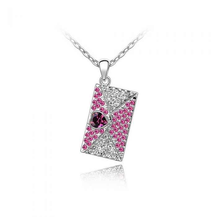 Image for Swarovski - Love Letter Pendant made with a Pink crystal from Swarovski