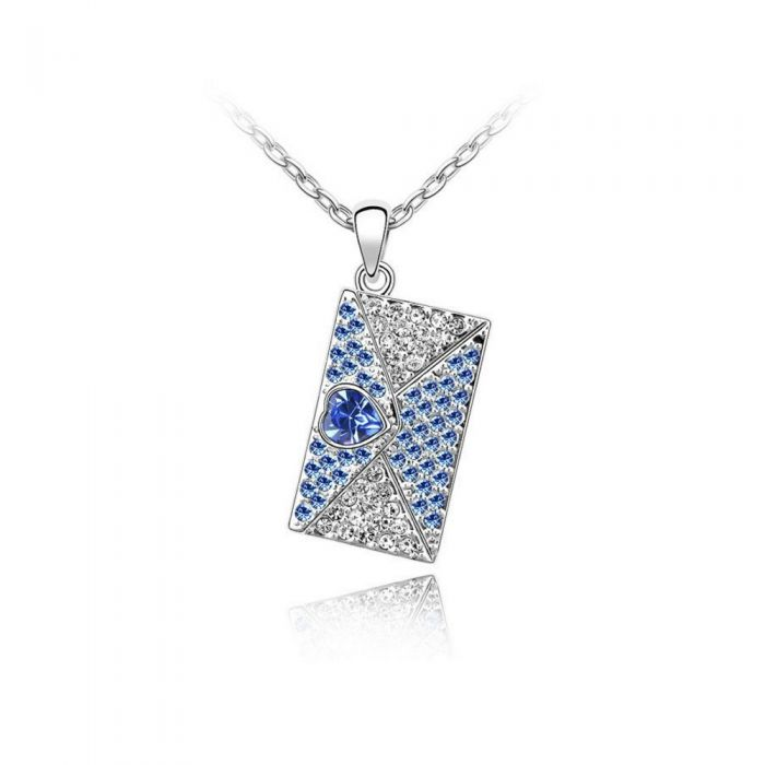 Image for Swarovski - Love Letter Pendant made with a Blue Crystal from Swarovski