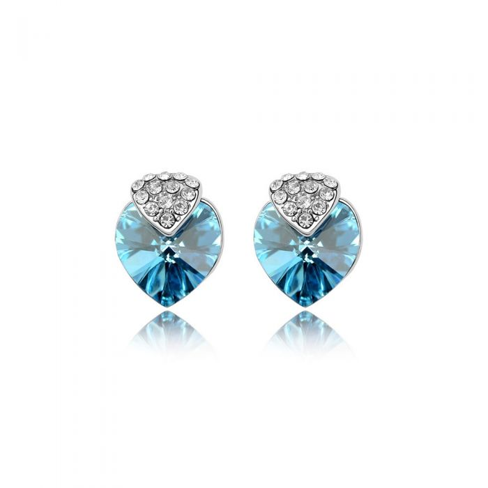 Image for Swarovski - Heart Earrings made with a blue Crystal from Swarovski