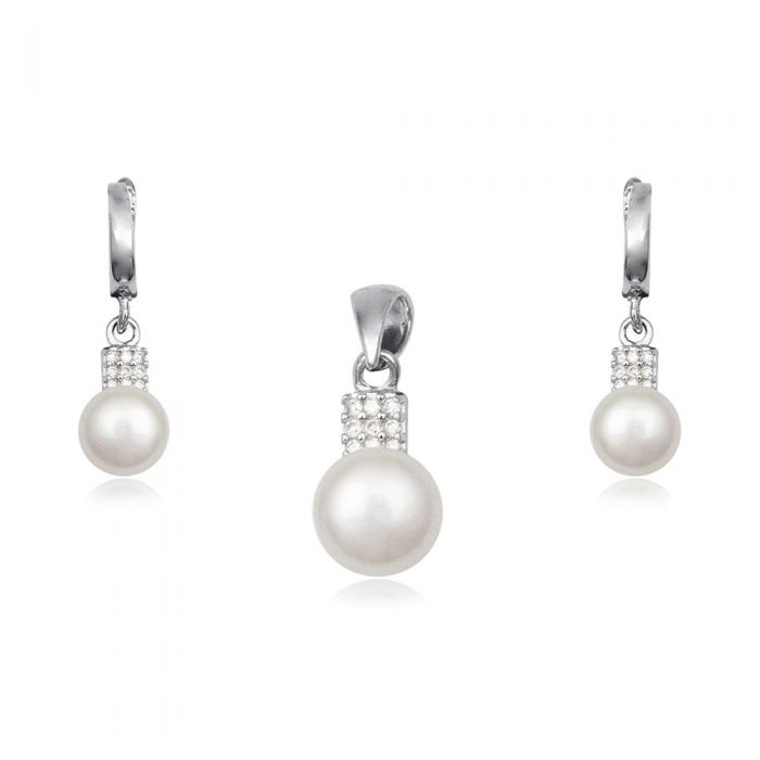 Image for White Pearls and Cz Stones Pendant and Earrings Set and 925 Silver