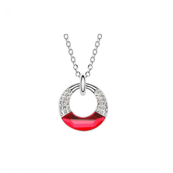 Image for Circle Pendant made with Red Swarovski Crystal Elements