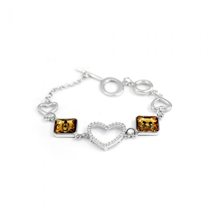 Image for White and brown Swarovski crystals heart bracelet