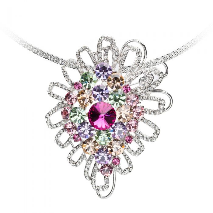 Image for Silver-plated and multicolor Swarovski crystals necklace