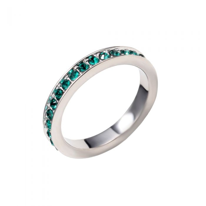 Image for Green Swarovski crystals alliance ring