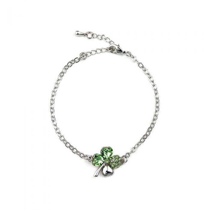 Image for Green Swarovski crystals clover bracelet