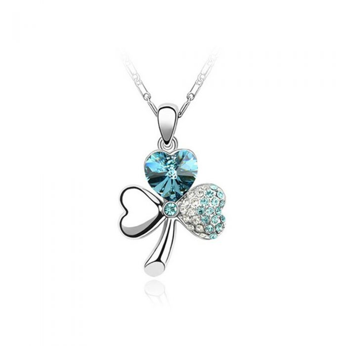 Image for Swarovski - Clover Pendant made with a Clear Blue Crystal from Swarovski