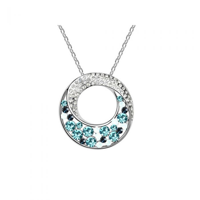 Image for Swarovski - Circle Pendant made with Blue Swarovski Crystal Elements