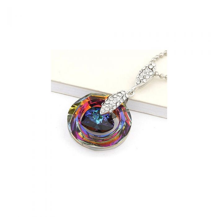 Image for Swarovski - Heart and Circle Pendant made with Crystal Swarovski Elements Rainbow and Blue
