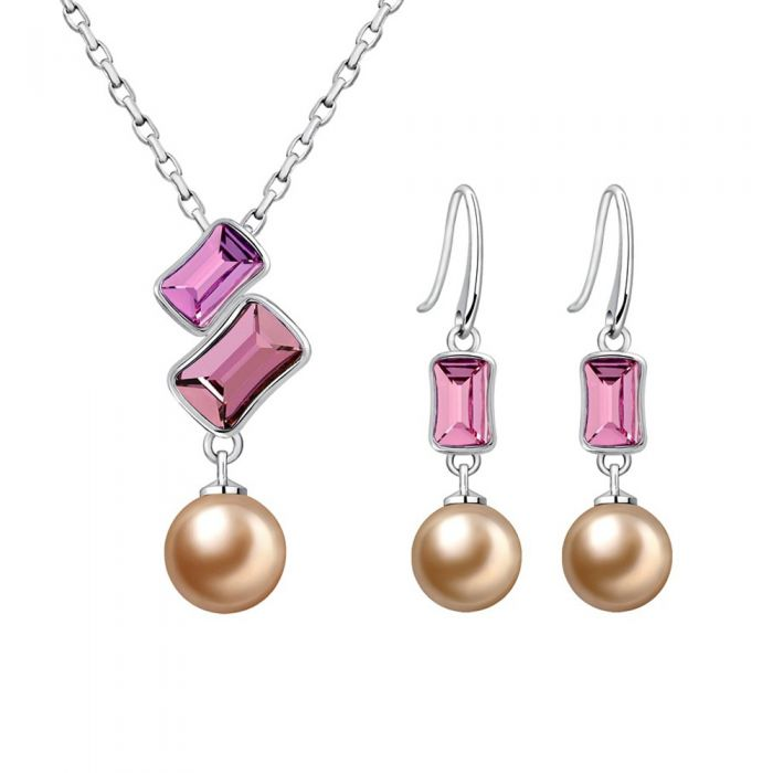 Image for Pearl and pink swarovski crystal jewellery set