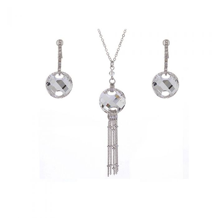 Image for 2pc Silver-tone Swarovski crystals necklaceand earrings set