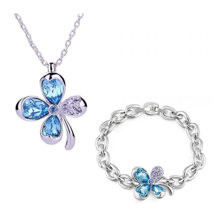 Image for 2pc Rhodium-plated and blue Swarovski crystals clover necklaceand bracelet set