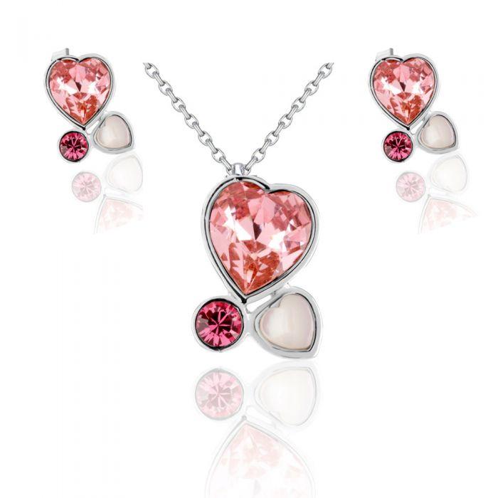 Image for Swarovski - Pink Swarovski Crystal Elements Multi Hearts Set and Rhodium Plated