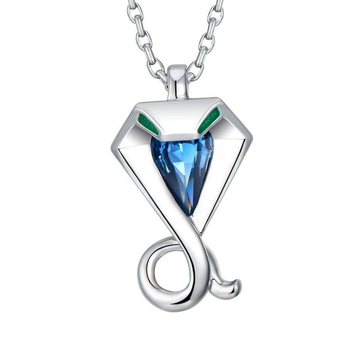 Image for Swarovski - Blue Swarovski Crystal Elements and Rhodium Plated Snake Pendant