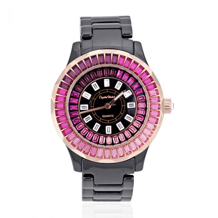 Image for Swarovski - Black Ceramic and Pink Swarovski Crystal Elements Watch