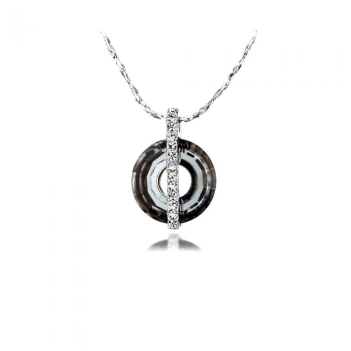 Image for Swarovski - Black Diamond Swarovski Crystal Elements and Rhodium Plated Circle Pendant