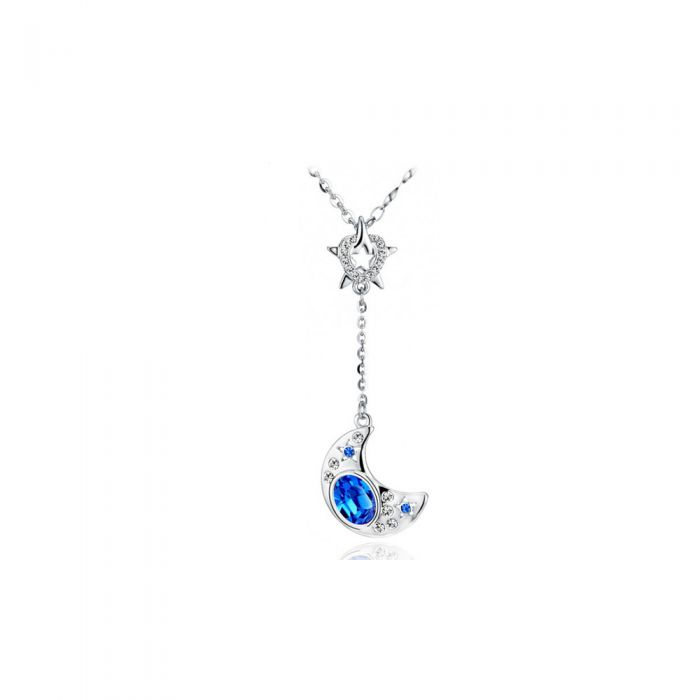 Image for Swarovski - Blue Swarovski Crystal Elements and Rhodium Plated Moon and Star Necklace