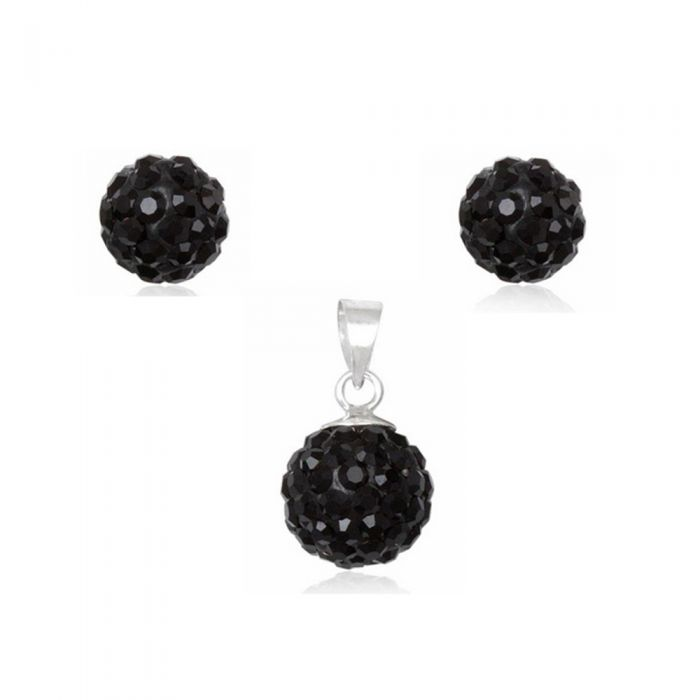 Image for Black Crystal Pendant and Earrings Set and 925 Silver