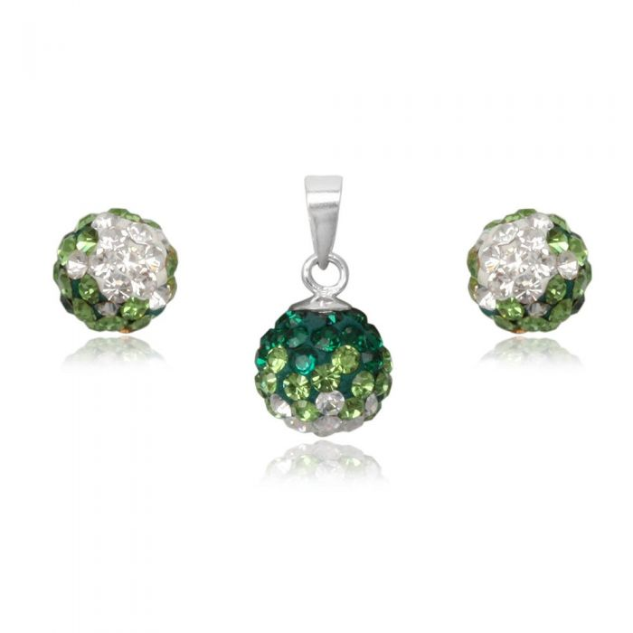 Image for Green Crystal Pendant and Earrings Set and 925 Silver