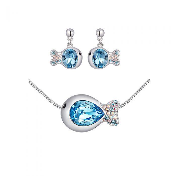 Image for Swarovski - Blue Swarovski Crystal Elements Fish Necklace and Earrings Set