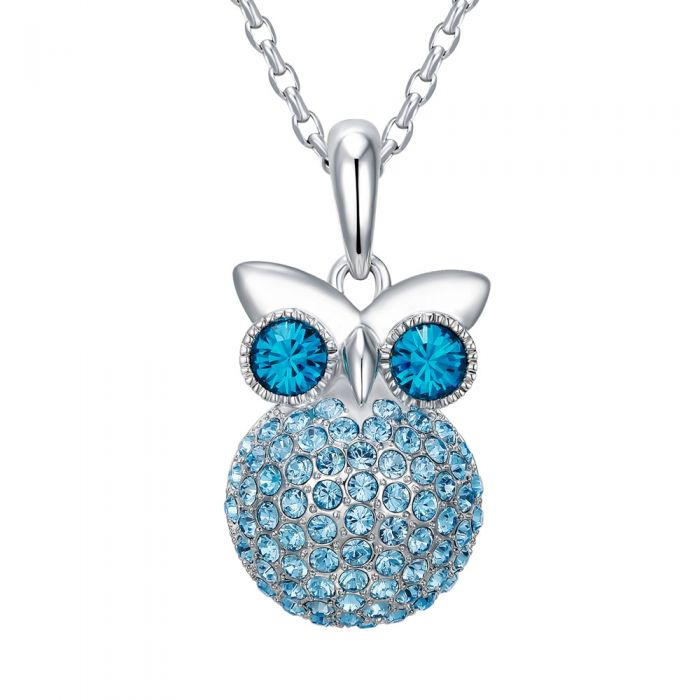 Image for Swarovski - Blue Swarovski Crystal Elements and Rhodium Plated Owl Pendant