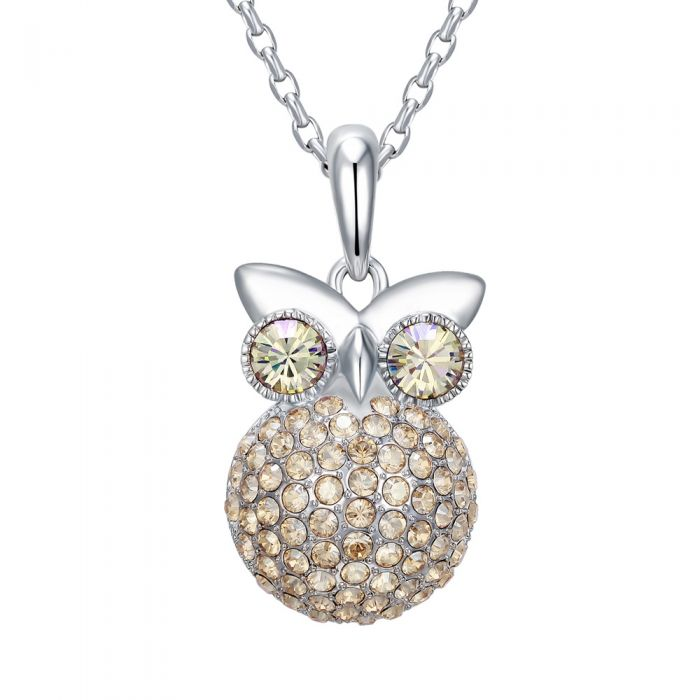 Image for Champagne Swarovski crystals and rhodium-plated owl pendant