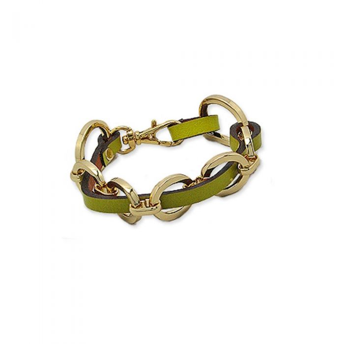 Image for Green Leather Strap Bracelet and Gold Steel