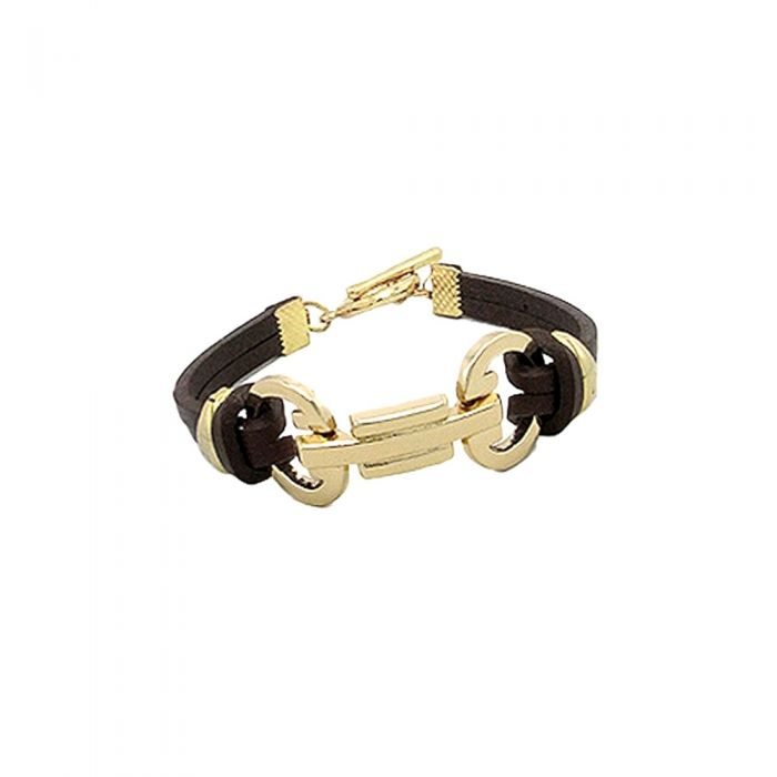 Image for Brown Leather Bracelet and Gold Steel